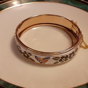 Cloisonne Goldtone Clamp Bracelet
